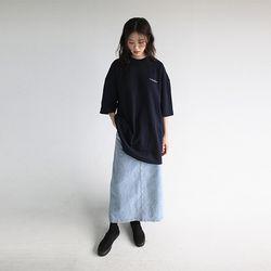 back slit h-line denim skirt (2colors)