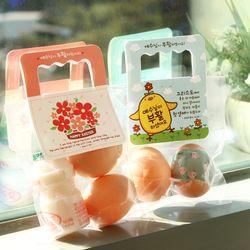 부활절 달걀 2구 사각손잡이 40개(비닐포함) -그림세트