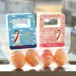 부활절 달걀2구 사각손잡이 40개비닐포함 -예수님세트