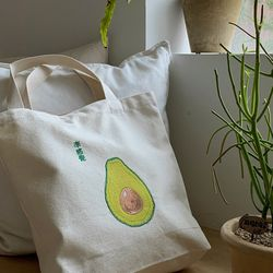 아보카도 자수 가방 - avocado embroidery