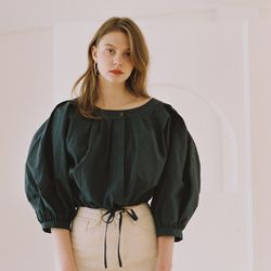 VOLUME CROPPED BLOUSE FOREST GREEN