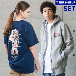 플루크 스페이스 수트 후드집업+티셔츠 FZT018N723+FST105
