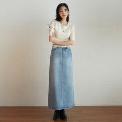 little denim long skirt (s m)