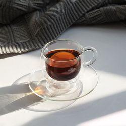 까사무띠 카페 내열 이중유리 커피잔2Pset
