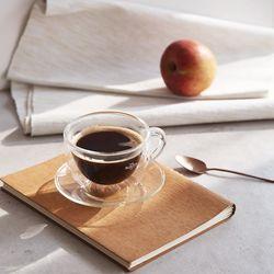 까사무띠 네로 내열 이중유리 커피잔2Pset