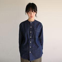 non-collar denim shirt (2colors)