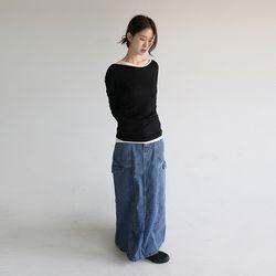 work cargo denim skirt