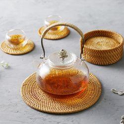 라탄 컵받침 티코스터 원형 소