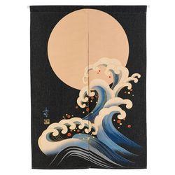 달과 파도 일본 출입구 노렌 텐션봉 포함 85cm-90cm