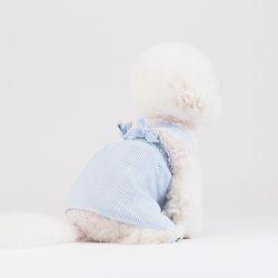 X 스트랩 스트라이프 드레스 (블루) XL