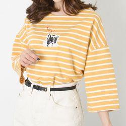 P7783 프렌치도그 스트라이프 7부 티셔츠