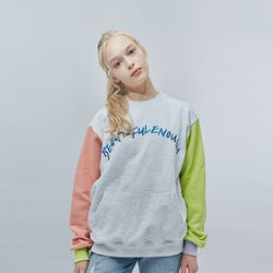 COLOR EMBO SWEAT SHIRT ASH