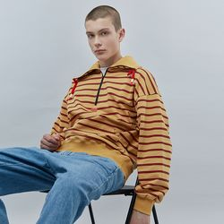 STRIPE HALF ZIPUP SWEAT SHIRT MUSTARD