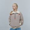 STRIPE HALF ZIPUP SWEAT SHIRT IVORY