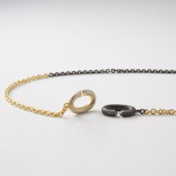 [ARETE] Black&Gold Clasp Design Necklace
