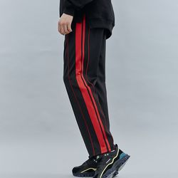 DOUBLE LINE TRACK PANTS BLACKRED