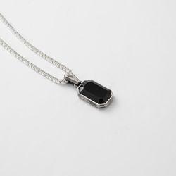 [ARETE] Emerald Cut Onyx Necklace