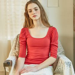 Square Neck Puff Shoulder T Red