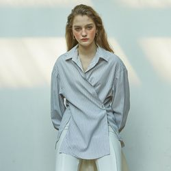 2 Way Stripe Wrap Shirt White