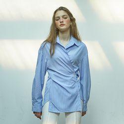 2 Way Stripe Wrap Shirt Blue