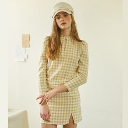 Gingham Check Blouse Beige