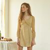 Chiffon Sleeve Square Neck Dress Yellow