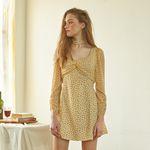 Chiffon Sleeve Square Neck Dress Yellow