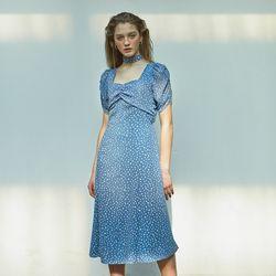 Puff Shoulder Square Neck  Dress Blue
