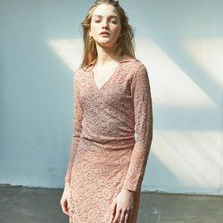 Lace Shirring Dress Pink