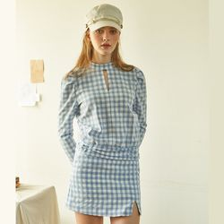 Gingham Check Skirt Blue