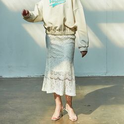 Lace Mermaid  Skirt Ivory