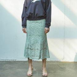 Lace Mermaid  Skirt Mint
