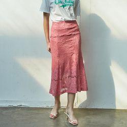 Lace Mermaid  Skirt Pink