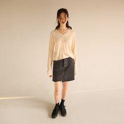 unbal black denim mini skirt
