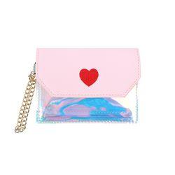 홀로그램 하트 똑딱이 카드지갑 핑크(AG2C9213OAPP)