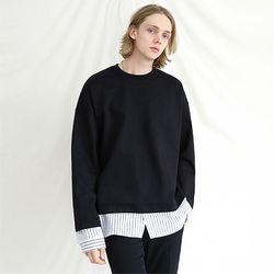 오버핏 스트라이프 레이어드 셔츠 맨투맨 블랙