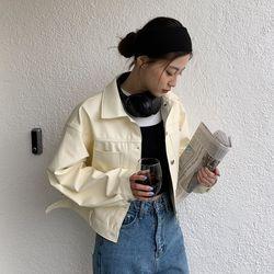 macaroon leather jacket