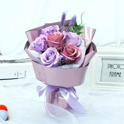 조화 퓨어 로즈 카네이션 비누꽃 꽃다발