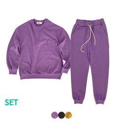 MINI POCKET SWEAT SHIRT+MINI POCKET JOGGER PANTS(3color)