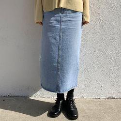 label denim long skirt (s m)