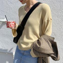 bom thin v-neck knit