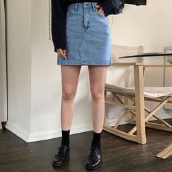 junior denim mini skirt (s m)