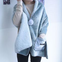 XL망토 겨울 커플 극세사 이중 양털 담요 (여성용)