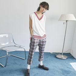 pointed line v-knit vest (2 color) - men