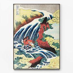 메탈 일본 동양화 그림 액자 가츠시카 호쿠사이 no.1 [대형]
