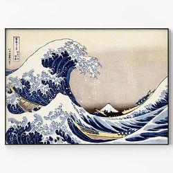 메탈 일본 빅웨이브 파도 그림 액자 가츠시카 호쿠사이 2 [대형]