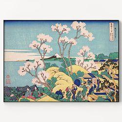 메탈 일본 명화 풍경 꽃 그림 액자 가츠시카 호쿠사이 4 [대형]