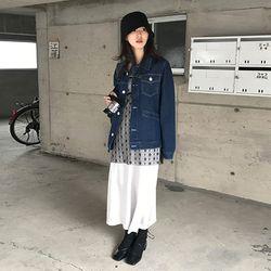 stitch denim jacket (2colors)