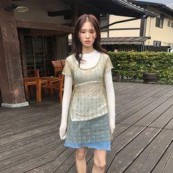 netting flower dress (3colors)
