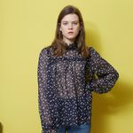 SHIRRING POINT SEE-THROUGH BLOUSE(NAVY)